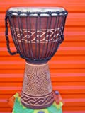 """Beautiful 24"""" X 14"""" Djembe Deep Carved Hand Drum Bongo Wave Carving - Model # 60m12"""