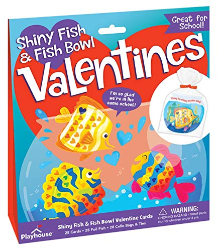 Playhouse Tropical Fishbowl Shiny Foil 28 Card Super Valentine Exchange Pack for Kids]()