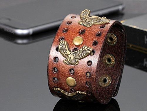 Flongo Bracelet Alliage Leather Cuir Cordon Corde Aigle Bijoux Cadeau Couleur Marron pour Homme