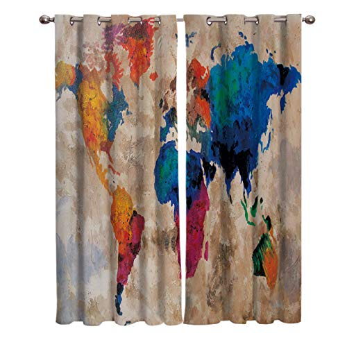 - Window Treatments Curtains Room Window Panel Set for Living/Dining/Bedroom, Vintage Oil Painting World Map 40 by 63 Inch, 2 Panels