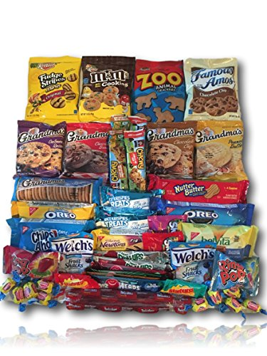 Cookie & Candy Care Package by AtHomePlus (50 Count) --Perfect Gift for College Dorm, Military or Office!! (Gifts, Flowers & Food)