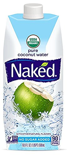 Naked Juice 100% Organic Pure Coconut Water, USDA Organic Certified, NON GMO Project Verified, 16.9 Ounce, 12 Pack