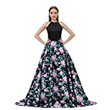 YSMei Women's Halter Floral Print Prom Dress with Pockets Long Evening Party Gowns Black 4