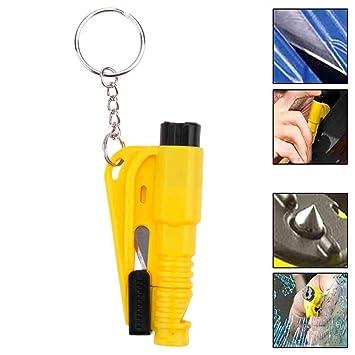 Ociodual Herramienta de Rescate Seguridad Rompe Cristales Corta Cinturon Silbato Amarillo