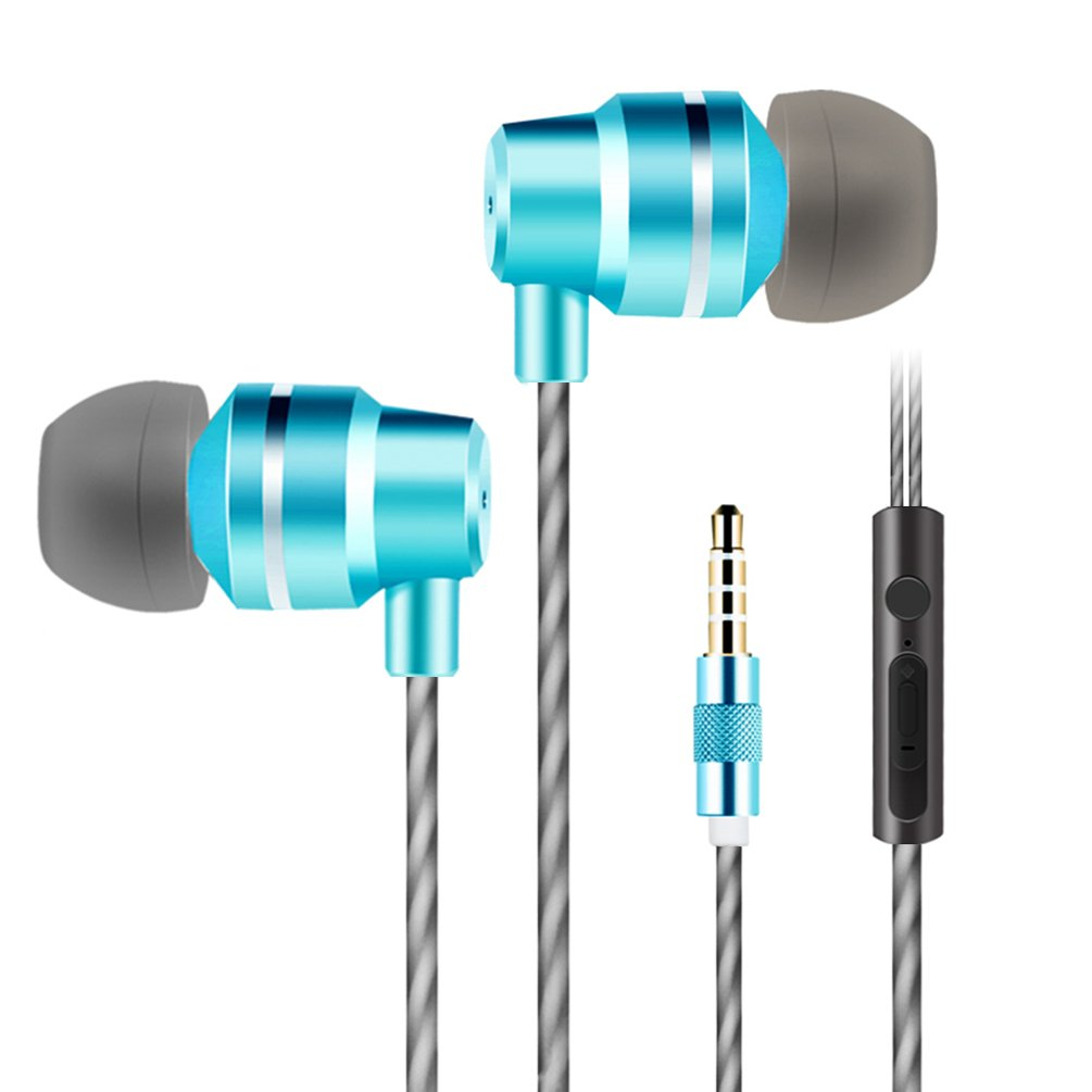 Jies Wired Earphones in Ear Headphones Noise Cancelling Earbuds Bass Stereo Headsets with Microphone & Volume Control & Remote for iPhone Android iPod iPad Mp3 Tablet Laptop (Blue)