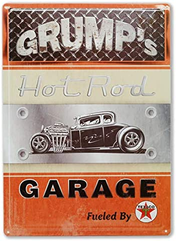 Vintage Tin Sign Metal Poster Wall Decor for Bedroom Texaco-Grumps Garage Wall Sign Plaque Rustic Man Cave Outdoor Bar Accessories and Decor