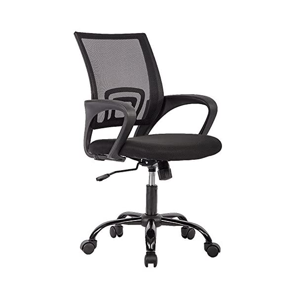 BestOffice OC-H03-Black Ergonomic Swivel Executive Adjustable Task MidBack Computer Stool with Arm in Home-Office, Mesh Chair, Black