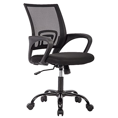 BestOffice OC-H03-Black Chair Desk Ergonomic Swivel Executive Adjustable Task MidBack Computer Stool with Arm in Home-Office Mesh Black