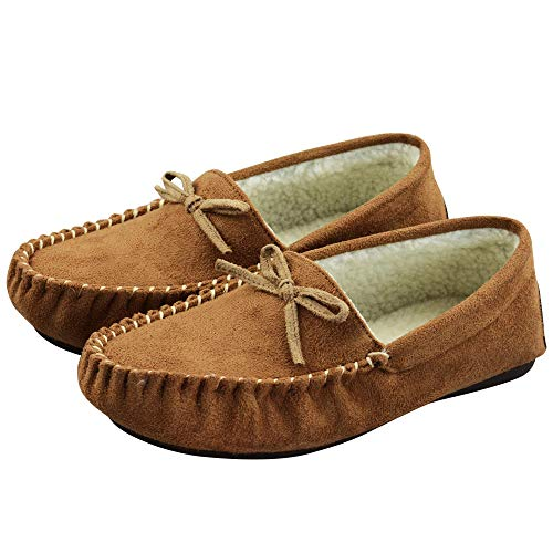 (VLLY Women's Faux Fur Lining Soft Comfort Anti-Slip Rubber Sole Indoor Outdoor Slippers 6 M US Brown)