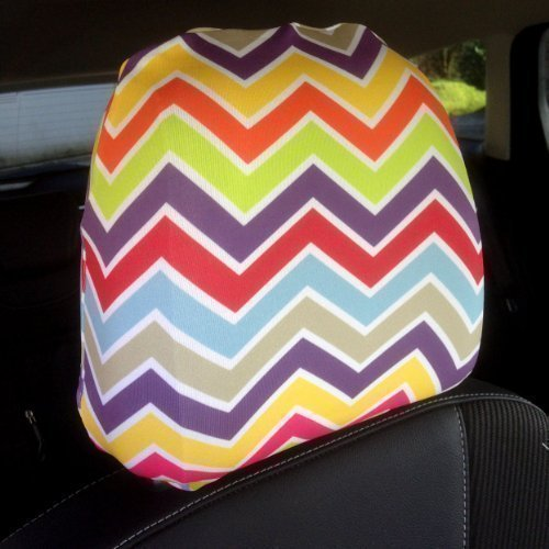 CAR SEAT HEAD REST COVERS 2 PACK CHEVRONS DESIGN MADE IN YORKSHIRE L&S PRINTS FOAM DESIGNS
