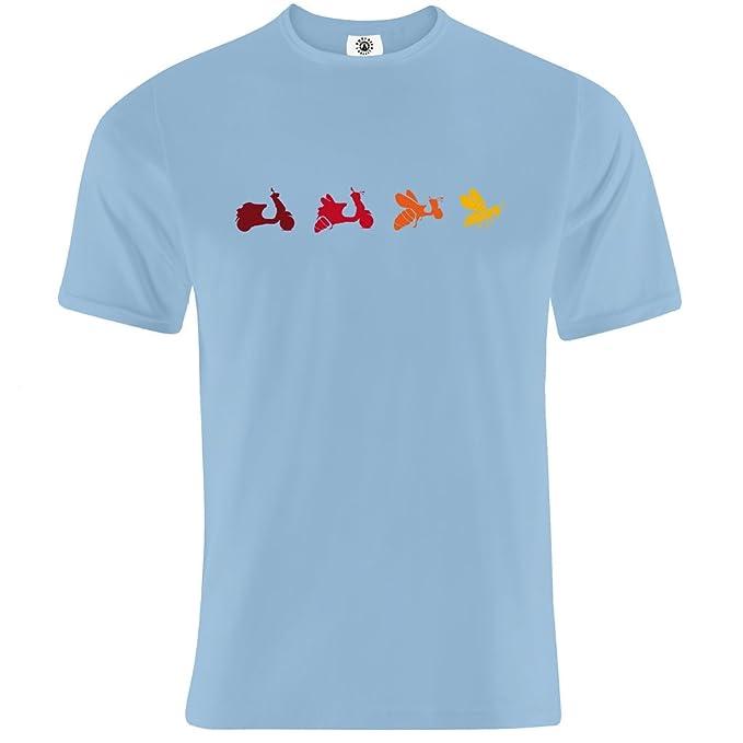Camiseta con diseño de la evolución de la vespa a avispa italiana: Amazon.es: Ropa y accesorios