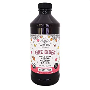 Amazon Exclusive. Fire Cider, Tonic, 16 oz plastic bottle, Honey-Free flavor, 32 Shots, Apple Cider Vinegar, Vegan, Whole, Raw, Organic, Not Pasteurized, Not Diluted, Paleo, Keto, Whole 30.