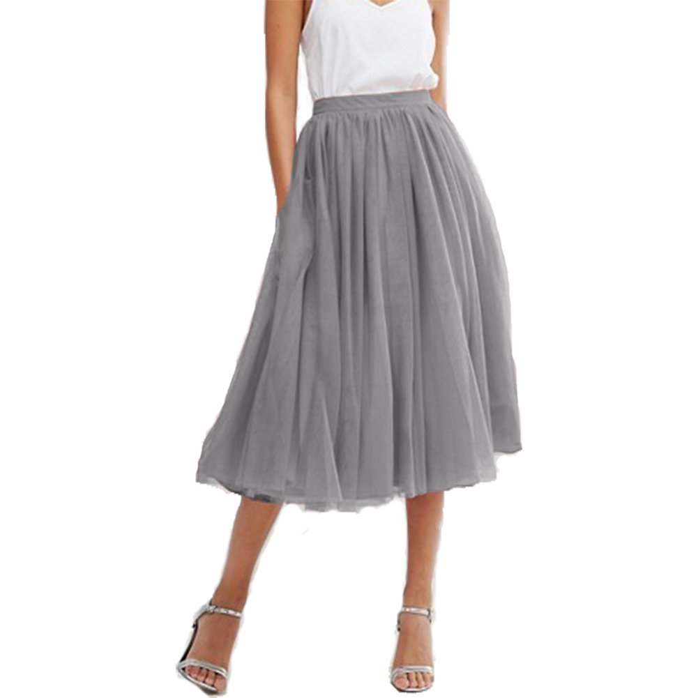 Omelas Women's Midi Tulle Skirt High Waisted Long Tutu Prom Party Casual Dress Grey