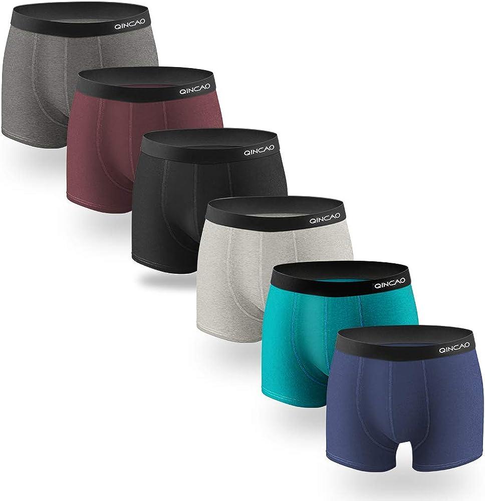 XXL M QINCAO Boxers Homme Lot de 6 Coton sous-v/êtement Fitted Trunk Cale/çons Ultra Doux Confortale S XL XXXL L