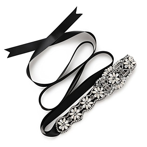 SWEETV Pearl Beaded Wedding Bridal Belt Bride Bridesmaid Sash Rhinestone Belt for Dress & Gown, Black (Dress Black Jeweled)