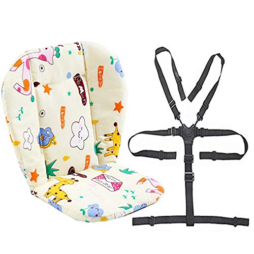 Twoworld Baby Stroller/High Chair Seat Cushion Liner Mat Pad Cover Resistant and High Chair Straps (5 Point Harness) 1 Suit (Giraffe) (Top Pad Booster Liner)
