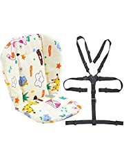Twoworld Baby High Chair Seat Cushion Liner Mat Pad Cover and High Chair Straps (5 Point Harness) 1 Suit (Giraffe)