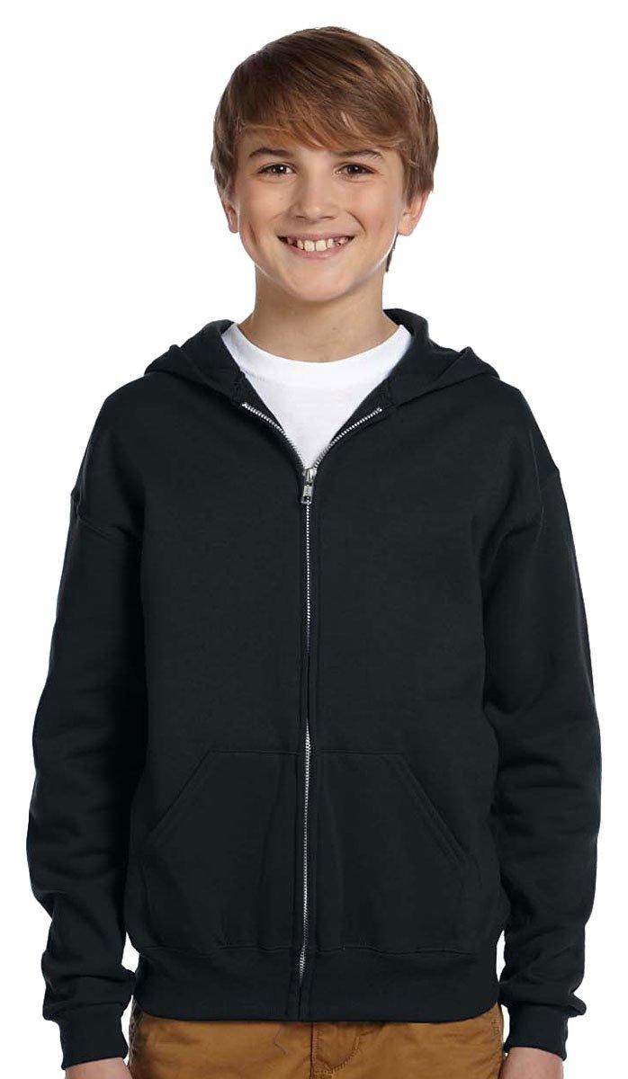 Jerzees Youth Nublend Full-Zip Hooded Sweatshirt, Blk, Small