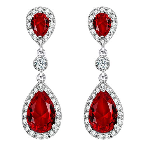 EleQueen 925 Sterling Silver Full Prong Cubic Zirconia Birthstone Teardrop Bridal Dangle Earrings Ruby Color