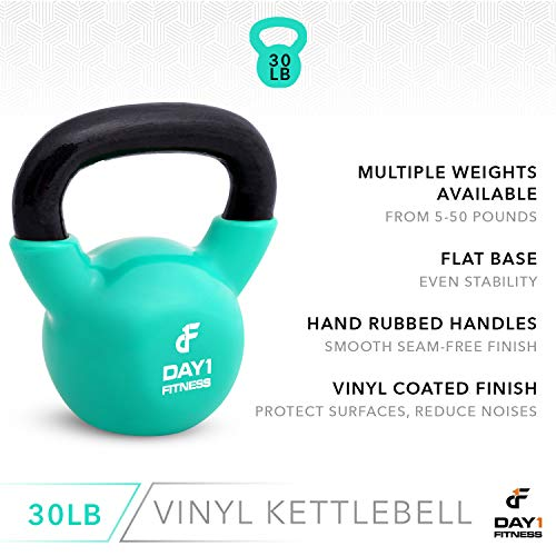 Day 1 Fitness Kettlebell Weights Vinyl Coated Iron 30 Pounds - Coated for Floor and Equipment Protection, Noise Reduction - Free Weights for Ballistic, Core, Weight Training by Day 1 Fitness (Image #3)