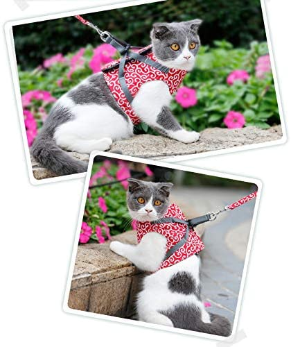 Escape Proof Soft Adjustable Vest Harnesses for Cats CJIBMWI Cat Harness and Leash for Walking