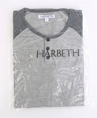 HARBETH MEN'S CASUAL LONG SLEEVE HENLEY SHIRT RAGLAN FIT BASEBALL T-SHIRTS TEE