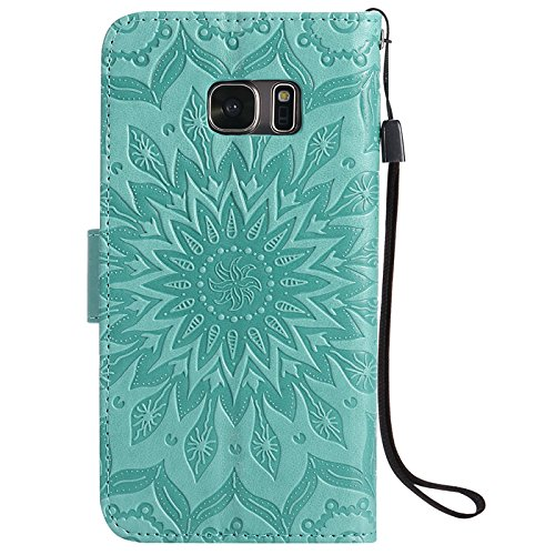 Anzeal Galaxy S7 Case,PU Leather Wallet,Heronsbill Durable Flip Cover with Credit Card Slot for Samsung Galaxy S7,Gift for Lady, Men, Women, Boys, Girls - Green
