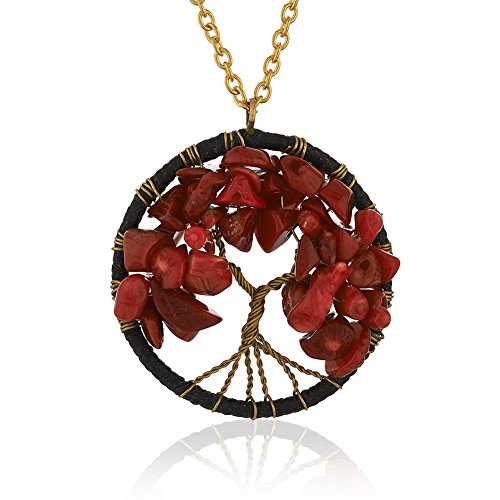Chuvora Gold-Plated Brass Eternal Tree of Life Red Coral Bead Pendant Necklace, Adjustable 17-19 inches
