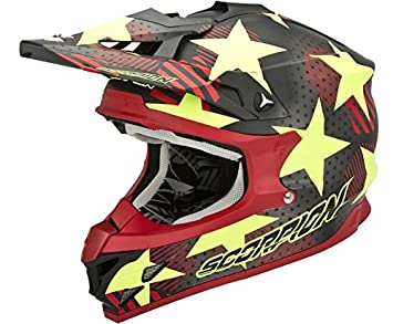 CASCO ENDURO MOTO CROSS SCORPION VX 15 EVO AIR STADIUM ROJO AMARILLO TALLA L, con