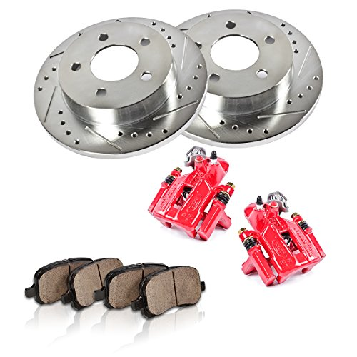 REAR Powder Coated Red [2] Calipers + [2] 5 Lug Rotors + Quiet Low Dust [4] Ceramic Pads Performance Kit [ SN95 ]