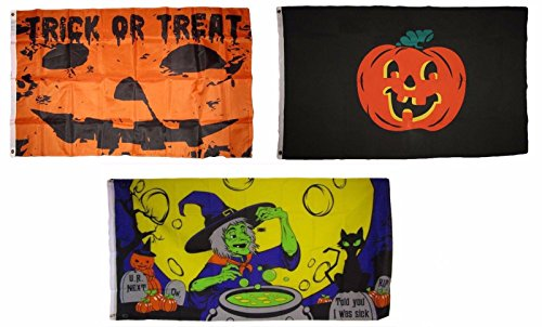 ALBATROS 3 ft x 5 ft Happy Halloween 3 Pack Flag Set #148 Combo Banner Grommets for Home and Parades, Official Party, All Weather Indoors Outdoors