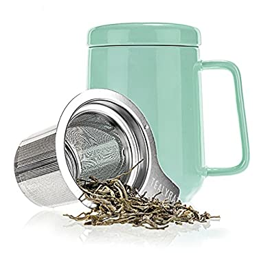 Tealyra - Peak Ceramic Turquoise Tea Cup Infuser - 16-ounce - Large Tea High-Fired Ceramic Mug with Lid and Stainless Steel Infuser - Tea-For-One Perfect Set for Office and Home Uses - 480 milliliter