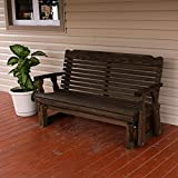 Amish Heavy Duty 800 Lb Classic Pressure Treated Porch Glider (5 Foot, Dark Walnut Stain)