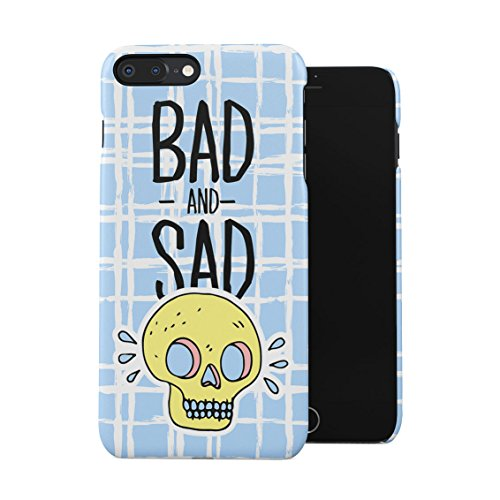 Bad and Sad Skull Turquoise Checkered Pattern Plastic Phone Snap On Back Case Cover Shell for iPhone 7 Plus & iPhone 8 Plus -