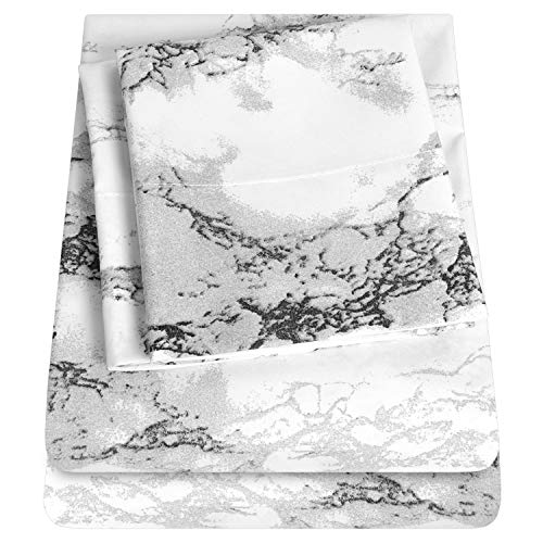 1500 Supreme Collection Extra Soft Marble Print Sheet Set- Luxury Bed Sheets Set with Deep Pocket Wrinkle Free Hypoallergenic Bedding, Twin Size