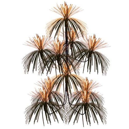 Firework Chandelier (orange & black) Party Accessory  (1 count) (1/Pkg) (Black And Orange Party Decorations)
