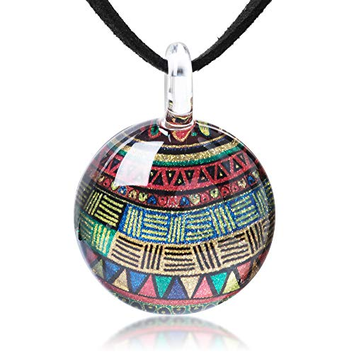 (Hand Blown Glass Jewelry Colorful Glittery Tribal Art Round Pendant Necklace 17-19 inches)