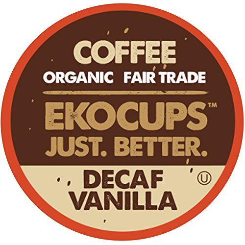 EKOCUPS Artisan Organic Decaf Vanilla Means Roast Coffee In Recyclable Single Serve Cups for Keurig K-Cup Brewers, 40 Count