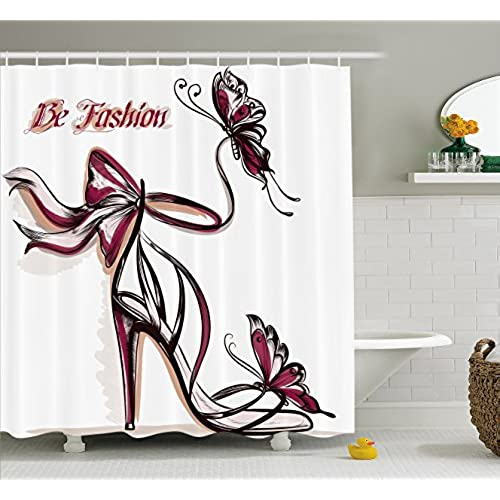 Fashion House Decor Shower Curtain By Ambesonne, High Heels With Butterfly  And Ribbon Ornamentals Be Grace Spruceness Theme, Fabric Bathroom Decor Set  With ...
