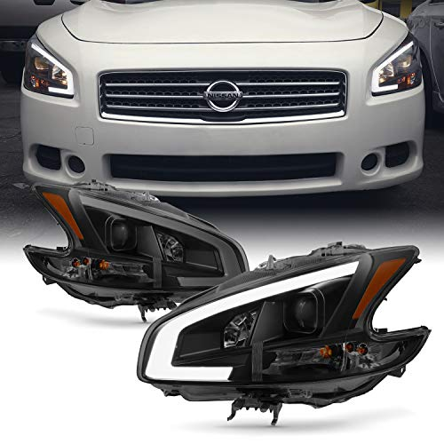 Fits 2009 2010 2011 2012 2013 2014 Nissan Maxima LED DRL Light Tube Projector Front Headlamps - Black ()