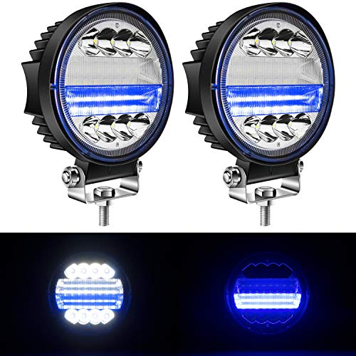 "Yorkim 4.5"" LED Pods, 2-Pack Off Road LED Light Bar Spot Flood Combo Round Blue Work Light Fog Lights Driving Lights for Truck Jeep SUV ATV UTV Pickup with Flash Strobe Fucntion"