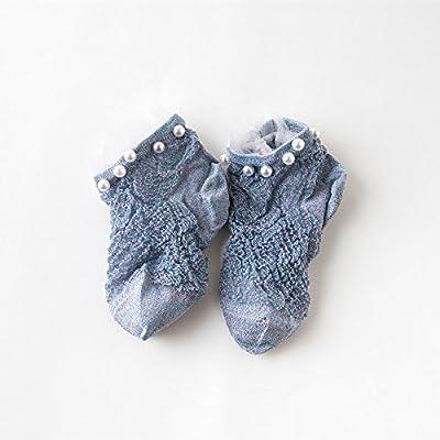 Maivasyy 3 paires de chaussettes ultra-fin d'été féminins dentelle lumineuse Pearl Rivets Pearl Court Étudiant Transparent Chaussettes, couleur Gris