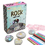 KreativeKraft Metallic Rock Art Set | Fun Arts and Crafts Activity Kit, Includes 10 Metallic Marker Pens, Rocks and Stencils | Paint Your Own Pebbles | Creative Art Set from Children & Adults