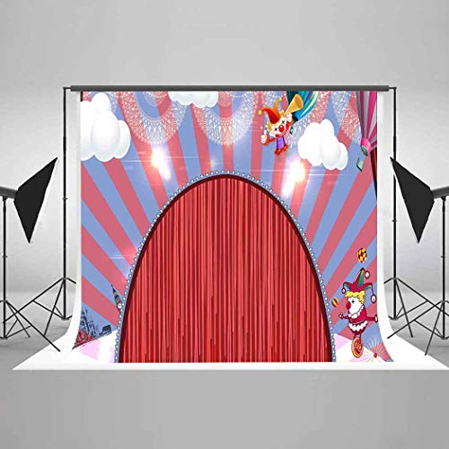 Red Curtain Circus Backdrop Funny Clowns Photography Background Carnival Themed Party EARVO 7x5ft 100% Cotton Backdrop Studio Photo Props EAGY009 -