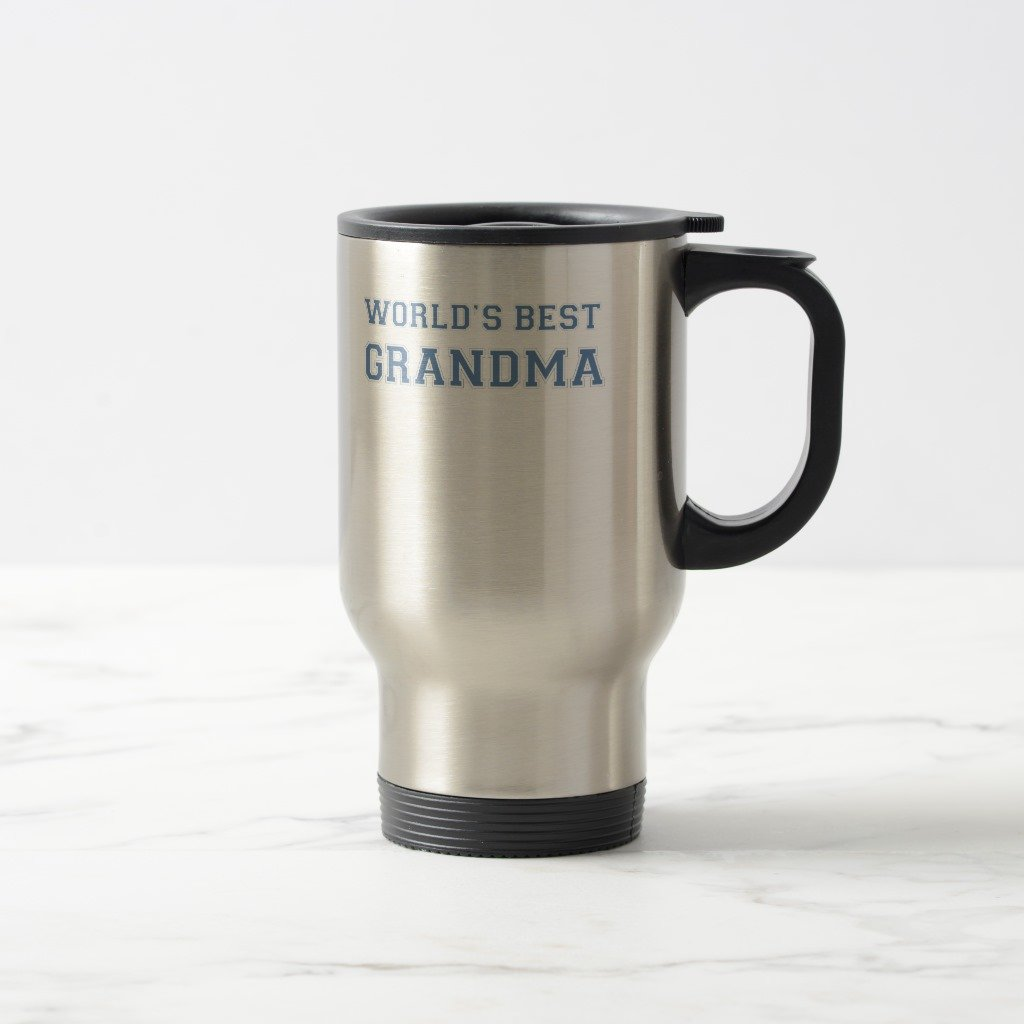 Zazzle Worlds Best Grandma Coffee Mug, Stainless Steel Travel/Commuter Mug 15 oz