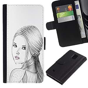 Paccase / Billetera de Cuero Caso del tirón Titular de la tarjeta Carcasa Funda para - Russian Woman Fashion Lady Pencil - Samsung Galaxy Note 4 SM-N910