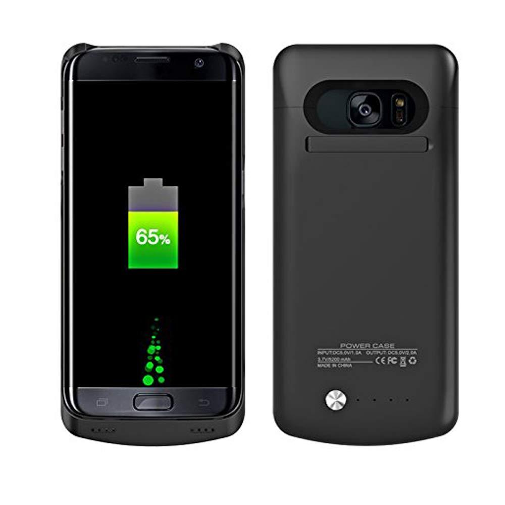 Galaxy S7 Edge Funda de batería, 5200 mAh, batería Recargable, Cargador de batería extendida, portátil Power Bank Carga Mochila Funda para Samsung ...