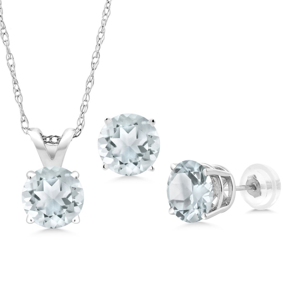 2.25 Ct Round Sky Blue Aquamarine 14K White Gold Pendant Earrings Set With Chain by Gem Stone King