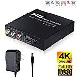 HDMI to RCA and HDMI Adapter Converter,HDMI to HDMI+3RCA CVBS AV Composite Video Audio Adapter/Splitter with Power Adapter Support 4K,1080P, PAL, NTSC for HD TV and Older TV