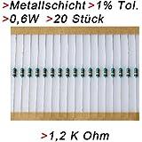 100 x Widerstand 1.2K Ohm 1K2 1//4W 250V 5/% Kohlenstoff Folie de DE de